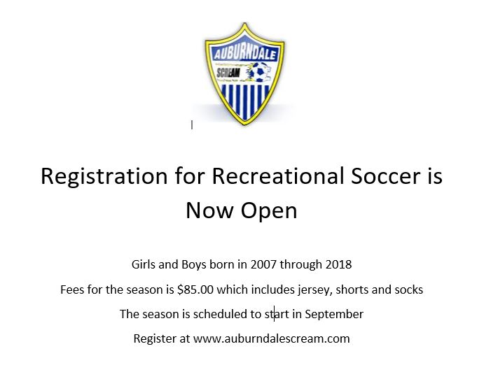 2021 - 2022 Fall Recreational Registration is now Open